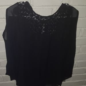 Black Sheer Lace Top Blouse